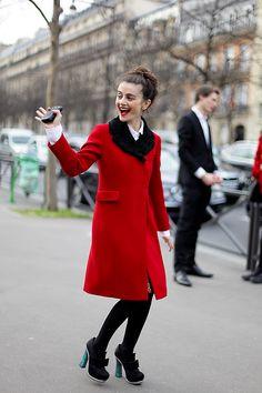 #NataliaAlaverdian (isn't it?) in that brills red topper after Miu Miu in Paris. #RollinLowolong