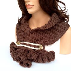 Brown Crochet Scarf with Ruffle | Chocolate Brown Winter Scarf | Warm Fashionable Women's Scarf - pinned by pin4etsy.com