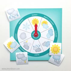 Spin the wheel Weather Chart and cards to place on the calendar to track weather patterns for the seasons. Kindergarten Activities, Toddler Activities, Teaching Kids, Kids Learning, Weather Song, Preschool At Home, Teaching Methods, Yoga For Kids, Home Schooling