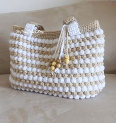 Gorgeous crochet tan and white purse, crochet shoulder bag, beaded bag, tan, white, crocheted tote, summer bag, fall bag spring bag