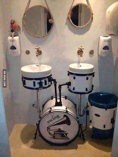 Drum Set  bathroom! Way too cool!  http://www.pinterest.com/TheHitman14/music-interiors-%2B/