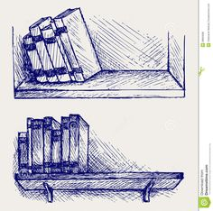 how to draw books on a shelf