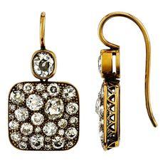 Single Stone Diamond Gold Cobblestone Drop Earrings   From a unique collection of vintage dangle earrings at https://www.1stdibs.com/jewelry/earrings/dangle-earrings/
