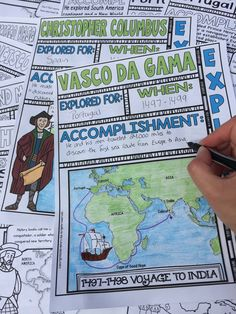 Engage students with these Explorers from Spain and Portugal doodle notes. These fun doodle notes cover the following 12 explorers: Prince Henry, Bartolomeu Dias, Vasco da Gama, Amerigo Vespucci, Christopher Columbus, Ponce de Leon, Vasco de Balboa, Hernan Cortes, Ferdinand Magellan, Francisco Pizarro, Herando de Soto, Francisco Vasquez de Coronado. $ Great for your 4th, 5th, 6th, 7th, 8th, 9th, 10th, or 11th grade classroom AND for homeschool!