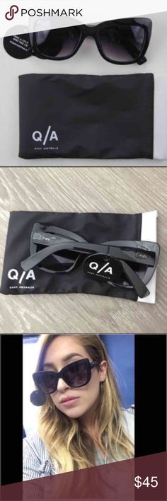 Quay Australia Sunglasses 😎 Quay Australia Sunglasses.  NWT.  Love these pair of sunglasses.  Perfect cat eye frame and the smiley gray lenses.  Includes dust bag. Quay Australia Accessories Sunglasses