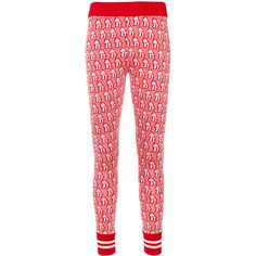 Gucci Mushrooms jacquard knit leggings ($950) ❤ liked on Polyvore featuring pants, leggings, red, gucci, jacquard pants, jacquard leggings, knit print leggings and print pants