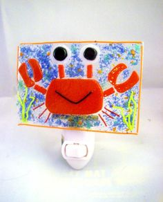 Red Crab Fused Glass Night Light by Ralphie's Fused Glass