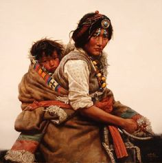 Native Art - Mother and Child (NOTE: This may actually be of Tibetan origin)