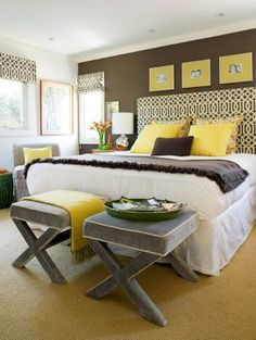 Pastels in home decor - myLusciousLife.com - Bedroom with yellow and chocolate styling.jpg