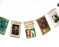 One Meter long book bunting! Each square is a famous Literary Book cover with plain white fabric on the reverse. **The placement of the books may differ slightly from the picture** Books may differ slightly too, but they will always be a selection of Literary greats! If you would like it