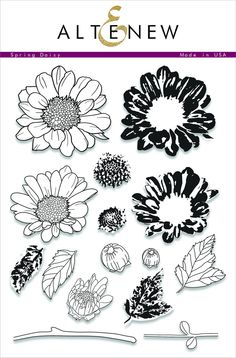 Illustrated by: May Sukyong Park This floral stamp set is consists of 2-3 layering images allowing you to create in-depth daisies. With various styles of images, you can add fully open flowers or simp