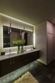 This cylinder-shaped steel pendant with clear diffuser is an ideal lighting fixture for bathrooms   Contemporary Bathroom and Vanity lighting inspiration    LED Pipe - by Edge Lighting
