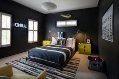 Jugendzimmer Gestalten Modern Schwarze Wände Gelbe Akzente Coole Jungs  Zimmer, Schwarze Schlafzimmer, Wandfarbe Schlafzimmer