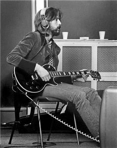 Eric Clapton at Olympic Studios in London whilst recording with George Harrison, 1969. Photo by Barrie Wentzell.