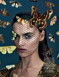 Vogue Beauty Editorial with model Zuzana Gregorova- Butterflies, Moths, Insects AW Beauty Photography Makeup Trends Metallic Photographer: Jamie Nelson Makeup: Michael Anthony Fashion Editor: Me… Edgy Photography, Beauty Makeup Photography, Fashion Photography Inspiration, Portrait Photography, Vogue Beauty, Fashion Beauty, Beauty Editorial, Editorial Fashion, New York Fashion