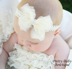 Baby Bow Headband..Baby Girl Ivory by PrettyBabyBowtique on Etsy