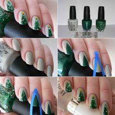 Design These DIY Christmas Tree Nails for This Christmas - http://www.stylishboard.com/design-diy-christmas-tree-nails-christmas/