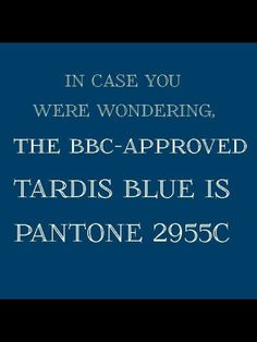 Now we know. Doctor who