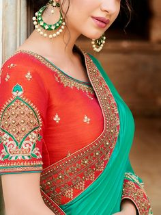 Buy Sea Green Chiffon Silk Saree with Resham Embroidery Work - Blouse Back Neck Designs, New Blouse Designs, Silk Saree Blouse Designs, Bridal Blouse Designs, Cut Work Blouse, Designer Blouse Patterns, Fancy Sarees, Lingerie, Indian Fashion
