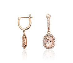 Morganite and Diamond Earrings in 14k Rose Gold (0.44 ct.tw.) | Blue Nile