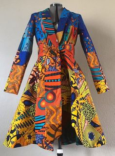African print clothing - Sunrise Blue Orange Yellow African Print High Low Patchwork Coat Dress With Pockets and Tie Belt Fully Lined Cotton – African print clothing African Print Clothing, African Print Dresses, African Print Fashion, African Fashion Dresses, African Dress, Ankara Fashion, Africa Fashion, Tribal Fashion, African Prints