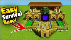 Minecraft how to build an easy ultimate 2 player survival starter base! Teaching you how to build in Minecraft - Creative building Tips and tricks. Video Minecraft, Minecraft Farm, Minecraft Plans, Minecraft Survival, Minecraft Construction, Amazing Minecraft, Minecraft Tutorial, Minecraft Stuff, Modern Minecraft Houses