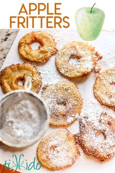 These apple fritter rings are bursting with fall flavor, and are the perfect way to enjoy the autumn apple harvest. It's an easy recipe that the whole family will go nuts for. Green Apple Recipes, Apple Dessert Recipes, Donut Recipes, Fruit Recipes, Snack Recipes, Fall Desserts, Baking Desserts, Snacks, Recipes Dinner