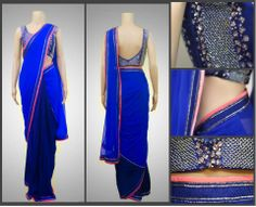 Bright Blue and Bedecked! Beat those Monday blues with a bright blue saree by Kanika Kedia.