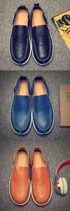 US $29 Prelesty New Simple Men Genuine Leather Shoes Slip On Real Leather Loafer - https://sorihe.com/mensshoes/2018/03/04/us-29-prelesty-new-simple-men-genuine-leather-shoes-slip-on-real-leather-loafer/
