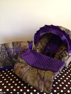 3 Piece Set purple and REALTREE CAMO fabric infant Car Seat Cover and Canopy Cover and Diaper Bag Huggy Blanket with Free Monogram