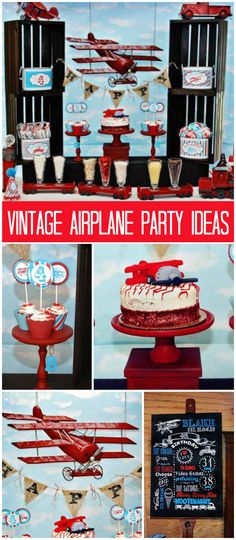 A vintage airplane, trains and automobile boy birthday party with fun games and treats! See more party planning ideas at CatchMyParty.com!