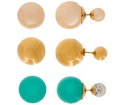 Stainless Steel Set of 3 Double Sided Stud Earrings