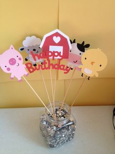 6 Piece Farm Animal Old Macdonald Barnyard Birthday Centerpiece. $15.00, via Etsy. Maybe we can get a discount?