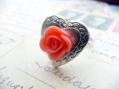 Heart Locket Rustic Chic Silver Heart Locket ring from SteampunkByDesign on Etsy