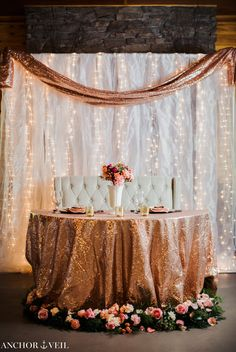 54 Ideas wedding backdrop reception head table draping twinkle lights for 2019 Wedding Reception Backdrop, Reception Decorations, Wedding Table, Wedding Ceremony, Quinceanera Decorations, Bridal Table, Wedding Backdrops, Rose Gold Table Decorations, Curtain Backdrop Wedding