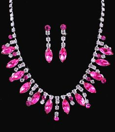 Hot Pink Fuchsia Crystal Rhinestone Formal Wedding Bridal Prom Party Pageant Bridesmaid Evening Marquise Stones Necklace Earrings Set Elegant Costume Jewelry