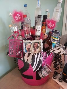 Made this for my best friends 21st birthday alcohol/hangover gift basket