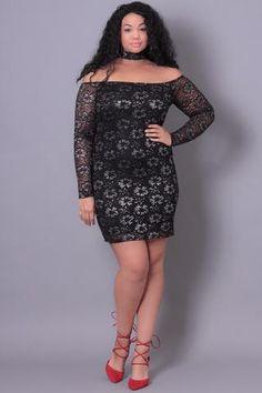 Plus Size  Metallic Floral Lace Dress - Black