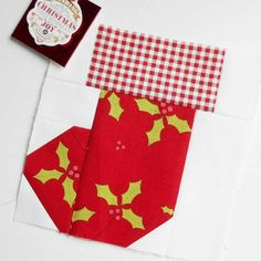 "Block 120 - Happy Holidays Little Stocking. I reduced Red Brolly's 12"" stocking pattern to make a 6"" patchwork block."