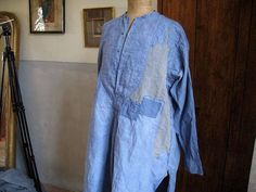 Antique French cotton mans shirt dyed smoky indigo by AtelierHope
