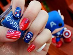 Captain American Nails | 20 Summery Nail Art Tutorials