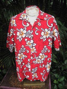 HAWAIIAN Aloha SHIRT XL pit to pit 26 HILO HATTIE cotton tropical flowers foliag #HiloHattie #Hawaiian