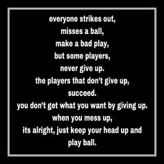 After a really bad day at all star tryouts this is what I needed. Volleyball Tryouts, Softball Memes, Baseball Quotes, Girls Softball, Softball Stuff, Softball Sayings, Baseball Stuff, Baseball Mom, Head Up Quotes