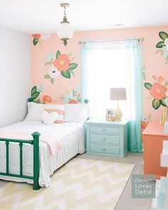 """When #getyourfarmonsister is all about paint, this @riflepaperco inspired floral wall I painted, needs a little reposting action! I also painted the bed,…"""