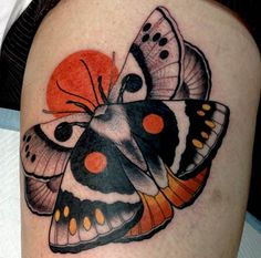 Butterfly tattoos ruled the but for this decade another winged insect is taking flight in tattoos across social media. The exotic wing patterns and unique antenna of moths have captured the . Leg Tattoos, Flower Tattoos, Body Art Tattoos, Sleeve Tattoos, Butterfly Tattoos, Butterfly Wings, Pretty Tattoos, Beautiful Tattoos, Traditional Butterfly Tattoo
