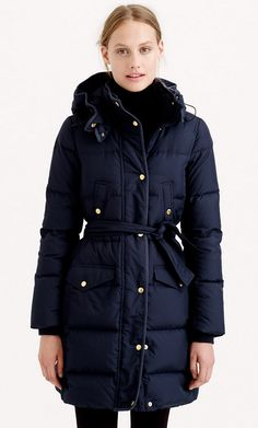 Long Belted Puffer Coat