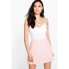 Boohoo Night Makani Scallop Wrap Front Woven Mini Skirt ($26) ❤ liked on Polyvore featuring skirts, mini skirts, nude, white scalloped skirt, embellished mini skirt, short skirts, pin skirt and white skirt