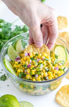 This tasty Chipotle Corn Salsa is great right away and amazing the next day too! Try it with tortilla chips or use it to top burritos, tacos, salads, nachos, etc. Corn Salsa Dip, Chipotle Corn Salsa, Chipotle Bowl, Chipotle Copycat Recipes, Chipotle Burrito, Salsa Bar, Corn Dip, Homemade Tortilla Chips, Rice
