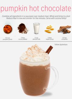 Baby it's cold outside! Time to warm up with a plant based hot beverage! This vegan pumpkin hot choc Healthy Smoothies, Healthy Drinks, Smoothie Recipes, Vegan Hot Chocolate, Hot Chocolate Recipes, Vegan Christmas, Christmas Drinks, Holiday Drinks, Vegan Thanksgiving