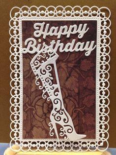 Spellbinders Detailed Scallops die, Tattered Lace Christmas Boot die, Cheery Lynn Designs Happy Birthday Phrases die